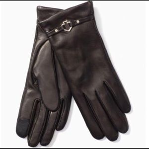 Kate Spade Cut Out Leather Gloves XL